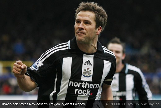 Michael Owen scoring Newcastle's first goal against Pompey