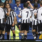 Hatem Ben Arfa being congratulate by his Newcastle team mates