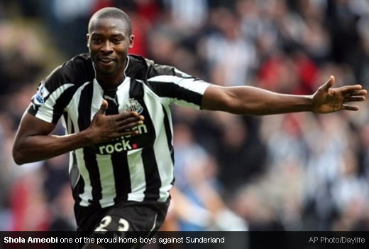 Shola Ameobi - Home ground proud Geordie boy who scores for Newcastle United against Sunderland
