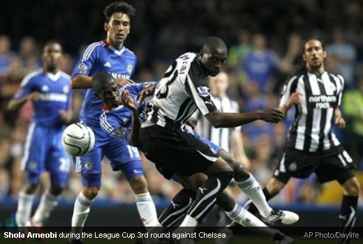 Shola Ameobi during the Carling Cup 3rd Round match against Chelsea