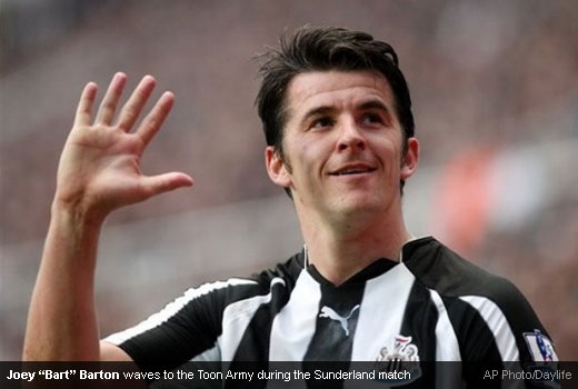 "Joey ""Bart"" Barton waves to the Toon Army during the Sunderland match"