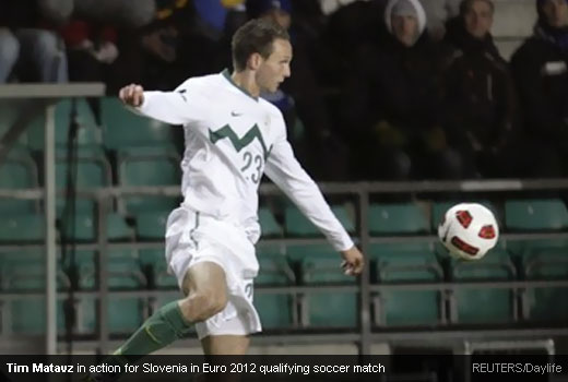Tim Matavz in action for Slovenia in Euro 2012 qualifying soccer match