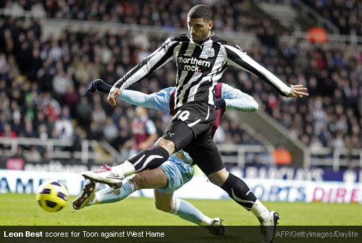 Leon Best scores for Newcastle United against West Ham United