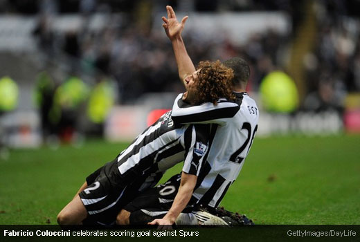 Fabricio Coloccini celebrates the goal against Tottenham Hotspur