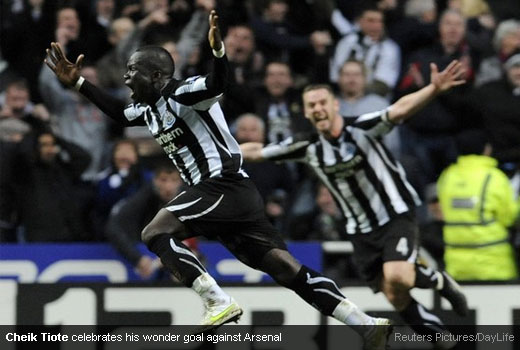 Cheik Tiote celebrates his wonder goal against Arsenal
