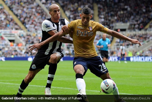 Gabriel Obertan battles with Matthew Briggs of Fulham [Magpies Zone/GettyImages/DayLife]