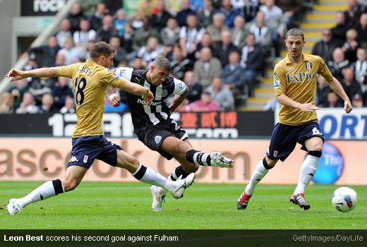 Leon Best scores his second goal against Fulham [Magpies Zone/GettyImages/DayLife]
