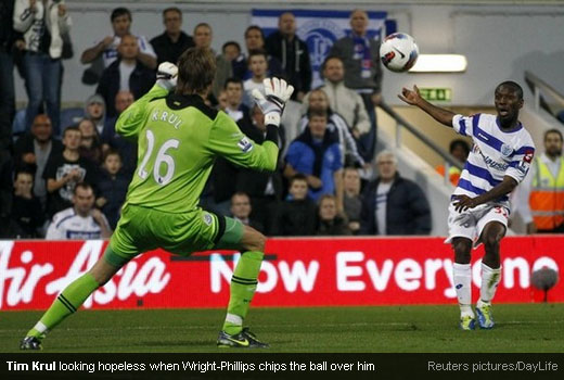 Tim Krul looking hopeless when Wright-Phillips chips the ball over him [Magpies Zone/Reuters/DayLife]