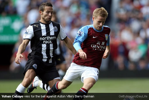 Yohan Cabaye vies for the ball against Aston Villa's Barry Bannan [Magpies Zone/GettyImages/DayLife]