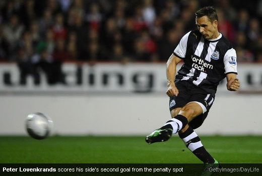 Peter Lovenkrands scores his side's second goal from the penalty spot [MagpiesZone/GettyImages/DayLife]