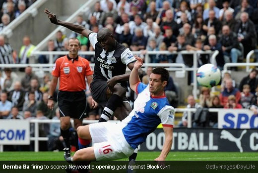 Demba Ba firing to scores Newcastle opening goal against Blackburn [MagpiesZone/GettyImages/Daylife]