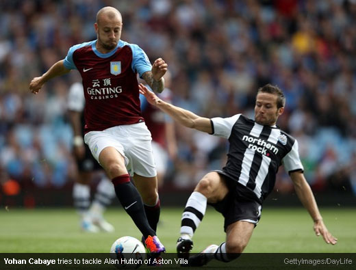 Yohan Cabaye tries to tackle Alan Hutton of Aston Villa [Magpies Zone/GettyImages/DayLife]