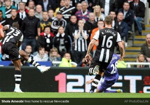 Shola Ameobi fires home to rescue Newcastle [Magpies Zone/AP Photo/DayLife]