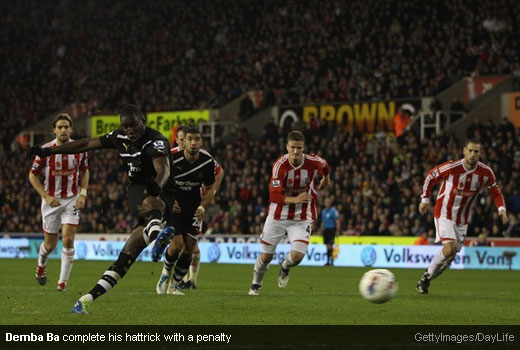 Demba Ba complete his hattrick with a penalty [Magpies Zone/GettyImages/DayLife]