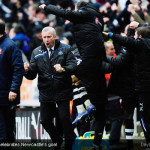 Alan Pardew celebrates Newcastle's goal