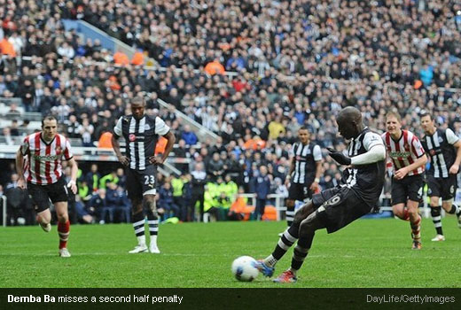 Demba Ba misses a second half penalty