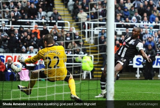 Shola Ameobi scores the equalising goal past Simon Mignolet