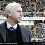Alan Pardew looks on the European dream