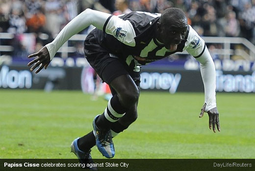 Papiss Cisse celebrates scoring against Stoke City