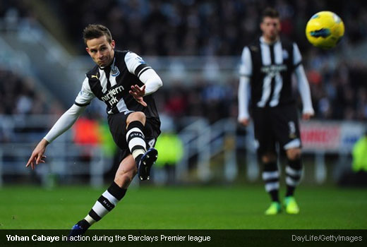 Yohan Cabaye in action during the Barclays Premier league