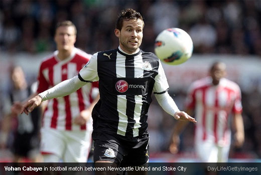 Yohan Cabaye in football match between Newcastle United and Stoke City
