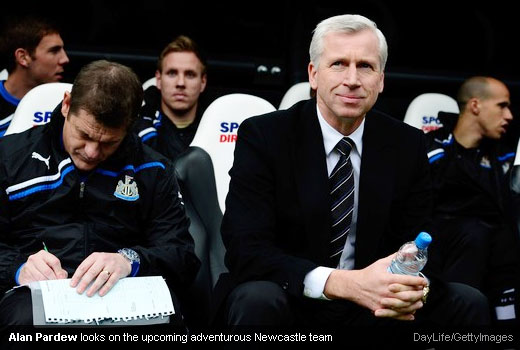 Alan Pardew looks on the upcoming adventurous Newcastle team