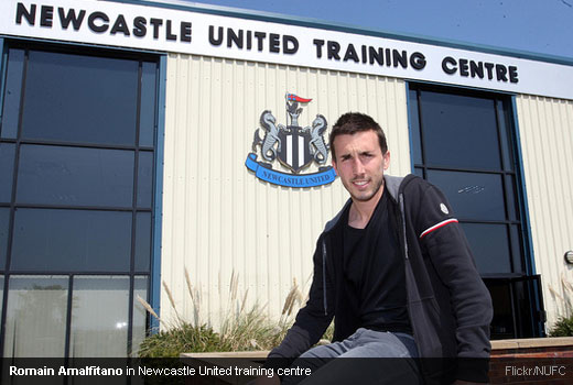 Romain Amalfitano in Newcastle United training centre