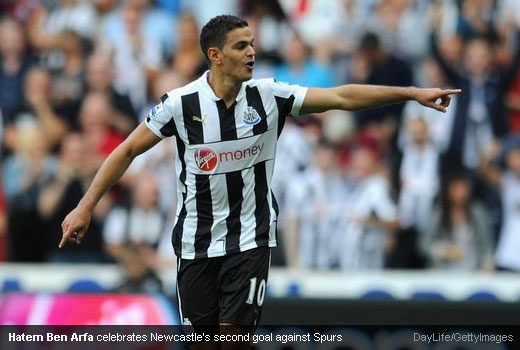 Hatem Ben Arfa celebrates Newcastle's second goal against Spurs