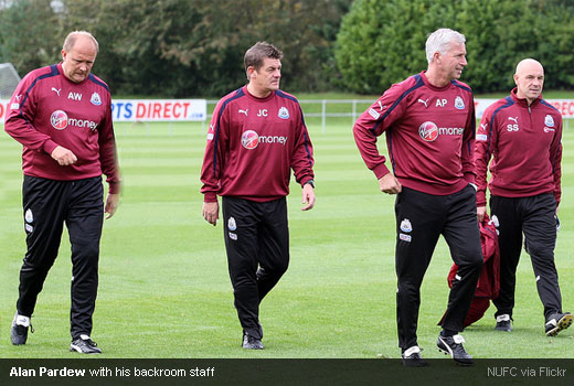 Alan Pardew with his backroom staff Andy Woodman, John Carver and Steve Stone