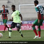 Gael Bigirimana during Newcastle's Europa League match against C.S Maritimo