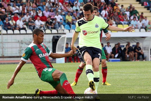 Romain Amalfitano during Newcastle's Europa League match against C.S Maritimo
