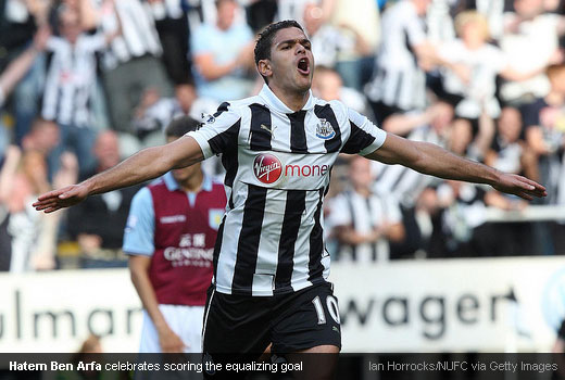 Hatem Ben Arfa celebrates scoring the equalizing goal