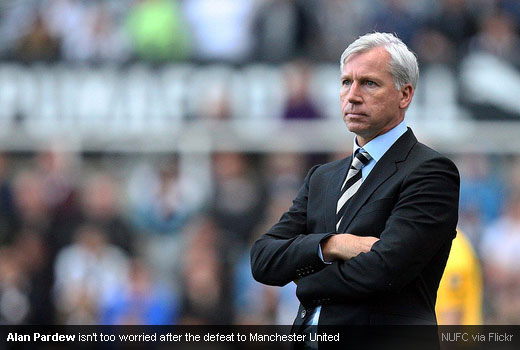 Alan Pardew isn't too worried after the defeat to Manchester United