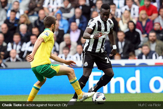 Cheik Tiote in action against Norwich City