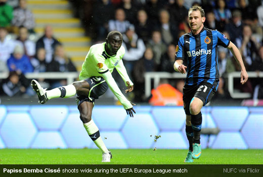Papiss Demba Cissé shoots wide during the UEFA Europa League match