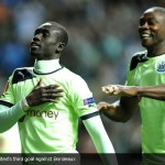 Papiss Demba Cissé score United's third goal against Bordeaux