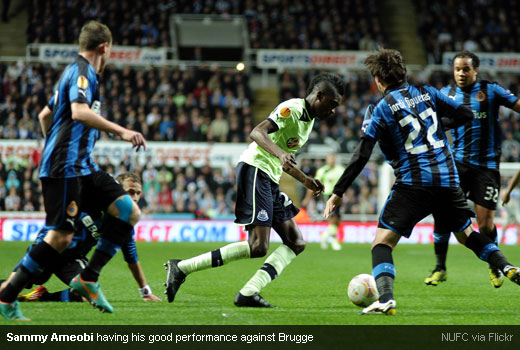 Sammy Ameobi having his good performance against Brugge