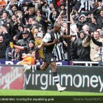 Shola Ameobi celebrates scoring the equalising goal