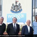 Alan Pardew with Derek Llambias, Errol Damelin and King Shola