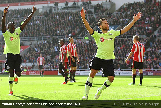 Yohan Cabaye celebrates his goal against 5under1and
