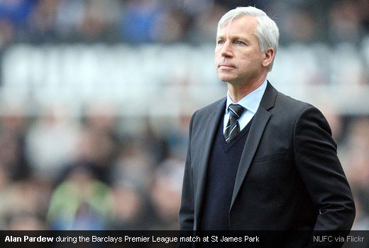 Alan Pardew during the Barclays Premier League match at St James Park