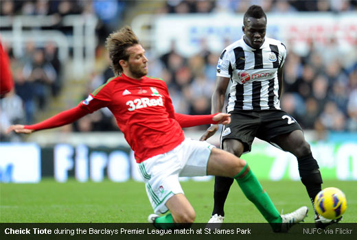 Cheick Tiote during the Barclays Premier League match at St James Park