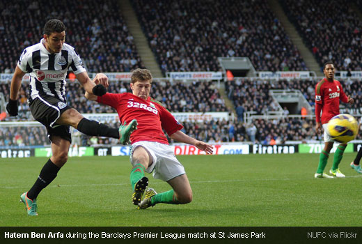 Hatem Ben Arfa during the Barclays Premier League match at St James Park