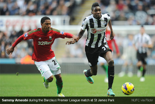 Sammy Ameobi during the Barclays Premier League match at St James Park