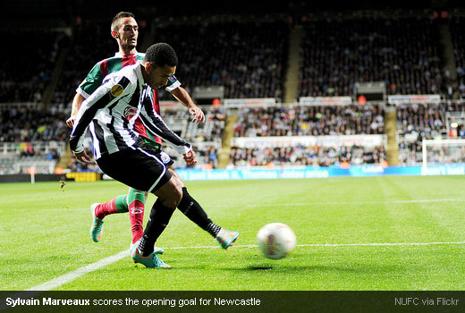 Sylvain Marveaux scores the opening goal for Newcastle
