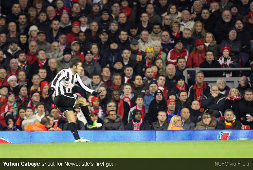 Yohan Cabaye shoot for Newcastle's first goal