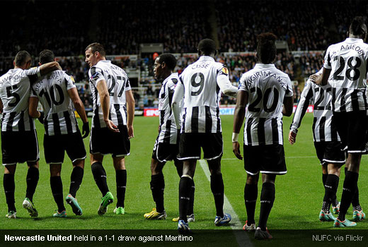 Newcastle United held in a 1-1 draw against Maritimo