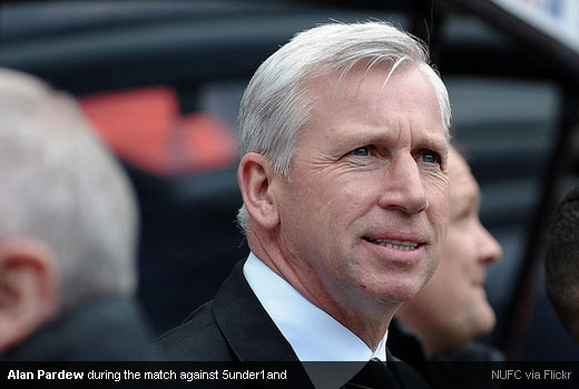 Alan Pardew during the match against 5under1and