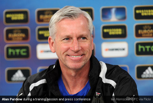 Alan Pardew during a training session and press conference