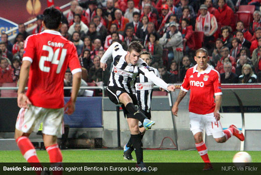 Davide Santon in action against Benfica in Europa League Cup